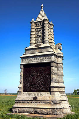 Confederate Monument Photograph - Gettysburg National Park 6th New York Cavalry Memorial by Olivier Le Queinec