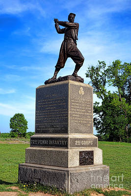Gettysburg National Park 72nd Pennsylvania Infantry Memorial Art Print by Olivier Le Queinec