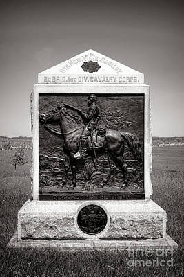 Battlefield Photograph - Gettysburg National Park 9th New York Cavalry Monument by Olivier Le Queinec