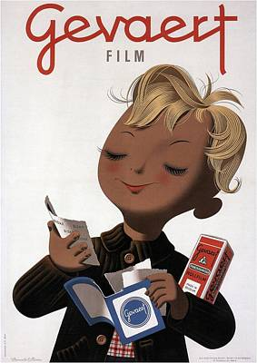 Vintage Camera Mixed Media - Gevaert Film - Little Boy With Photofilm - Vintage Belgian Advertising Poster by Studio Grafiikka