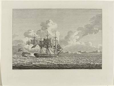 Drawing - Gevecht Tussen Hoekerschip Vrouw Machtelyna En Engels Fregat Diamant Voor De Haven Van Curacao 1782 by R Muirhead Art
