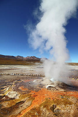 Geyser And Colorful Algae At El Tatio Chile Art Print by James Brunker