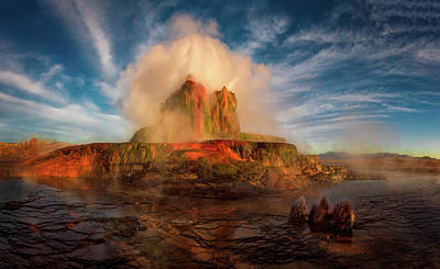 Photograph - Geyser Steams At Dawn by Dave Koch