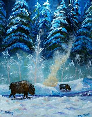 Geysers And Bison Art Print