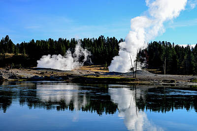 Photograph - Geysers By Yellowstone River by Marilyn Burton