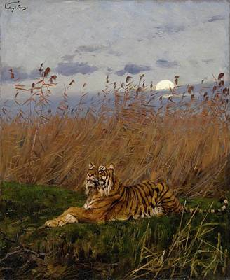 Ceramics Painting - Geza Vastag 1866 - 1919   A Tiger Among Rushes In The Moonlight by Adam Asar