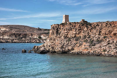 Watch Tower Photograph - Ghajn Tuffieha Bay - Malta by Joana Kruse