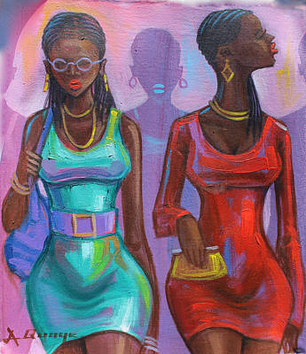 Painting - Ghana Ladies by Amakai