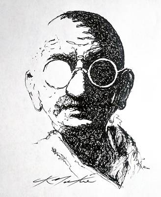 Drawing - Ghandi by Chris Mackie