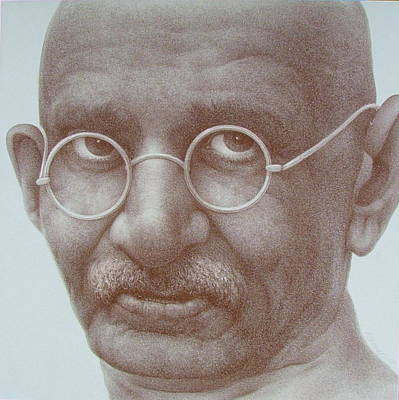 World Leader Drawing - Ghandi by Gary Kaemmer