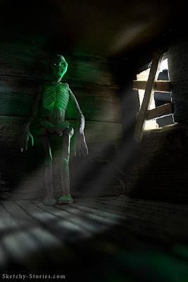 Cabin Window Mixed Media - Ghastly Lantern by Nicholas Damario