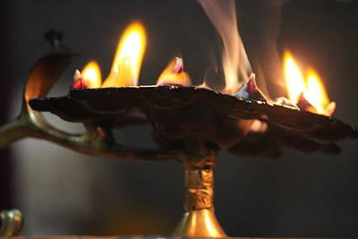 Ashram Wall Art - Photograph - Ghee Lamp, Vrindavan by Jennifer Mazzucco