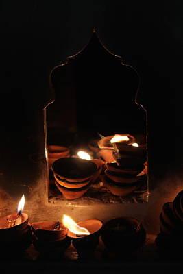 Diwali Photograph - Ghee Lamps, Barsana by Jennifer Mazzucco