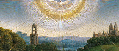 Rays Painting - Ghent Altarpiece Detail Of The Holy Spirit by Van Eyck