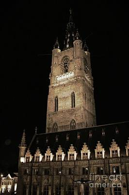 Photograph - Ghent Belfry At Night by Carol Groenen