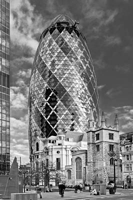 Gherkin And St Andrew's Black And White Art Print by Gary Eason
