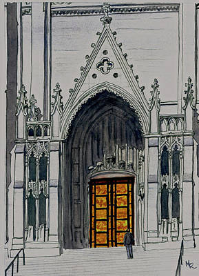Painting - Ghiberti Doors Of Grace Cathedral by Mike Robles