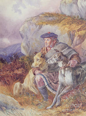 Scottish Dog Painting - Ghillie And Deerhounds by Richard Ansdell