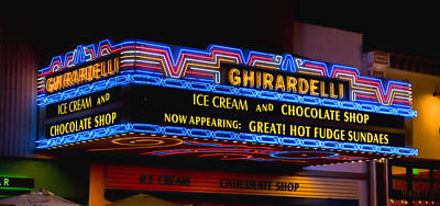 Gaslamp Photograph - Ghirardelli Chocolate Neon by Stephen Stookey
