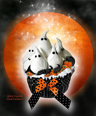 Mixed Media - Ghost Cupcake by Carol Cavalaris