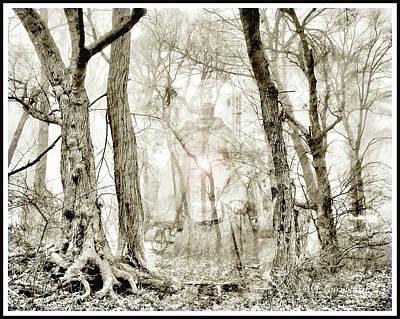 Digital Art - Ghost In A Haunted Forest, Horror Fantasy by A Gurmankin