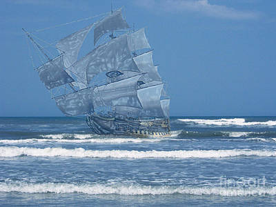 Vero Beach Digital Art - Ghost Of The 1715 Treasure Fleet by D Hackett