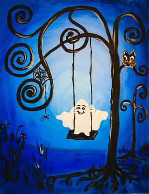 Child Swinging Mixed Media - Ghost On A Swing by Teri Newberry