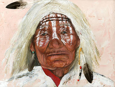 Native Portraits Painting - Ghost Shaman by J W Baker