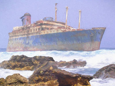 Aground Painting - Ghost Ship by Dominic Piperata