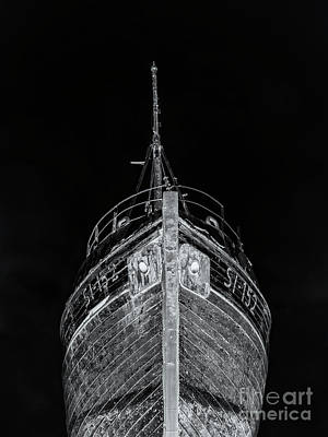 Photograph - Ghost Ship Old Wooden Fishing Boat At Night Iceland by Edward Fielding
