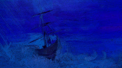 Ghost Ship Painting - Ghost Ship Upon Stormy Blues by Lisa Kaiser