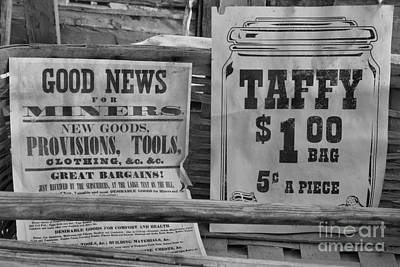 Photograph - Ghost Town Ads And News Black And White by Adam Jewell