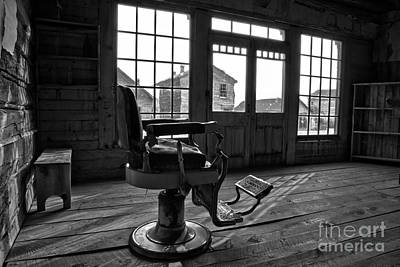 Photograph - Ghost Town Barber Chair Black And White by Adam Jewell