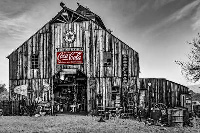 Photograph - Ghost Town Barn Bw by Susan Candelario
