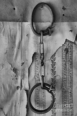 Bannack State Park Photograph - Ghost Town Shackles Black And White by Adam Jewell