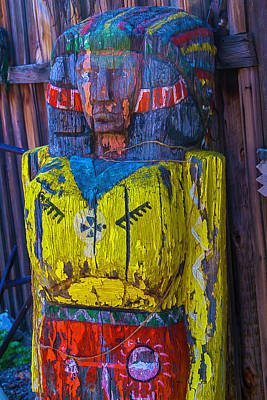 Peeling Painted Wood Wall Art - Photograph - Ghost Town Wooden Indian by Garry Gay