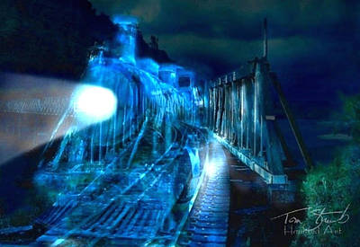 Ghost Train Bridge Art Print by Tom Straub
