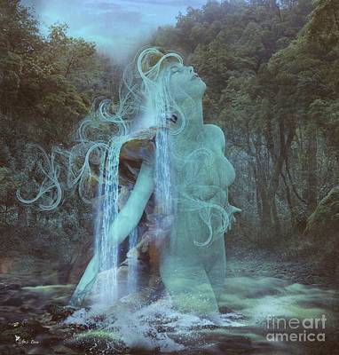 Digital Art - Ghostly Falls Of The Deep Forest by Ali Oppy
