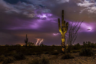 Captured Rain Photograph - Ghostly Saguaro And Thunderstorm by Chuck Brown