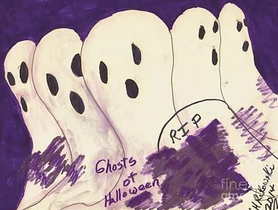 Headstones Mixed Media - Ghosts Of Halloween by Elinor Rakowski