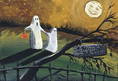 Moonface Painting - Ghosts Spooky Path  by Sylvia Pimental
