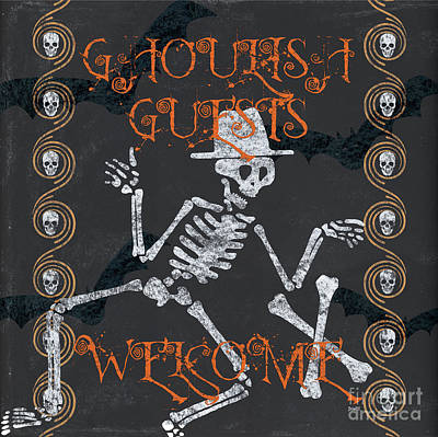 Skeleton Painting - Ghoulish Guests Welcome by Debbie DeWitt