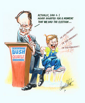 President Bush Drawing - Ghwb Election by Harry West
