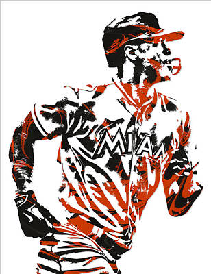 Miami Mixed Media - Giancarlo Stanton Miami Marlins Pixel Art  2  by Joe Hamilton