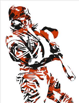 Baseball Mixed Media - Giancarlo Stanton Miami Marlins Pixel Art 3 by Joe Hamilton