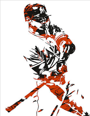 Miami Mixed Media - Giancarlo Stanton Miami Marlinspixel Art 1 by Joe Hamilton