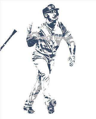 New York Yankees Mixed Media - Giancarlo Stanton New York Yankees Pixel Art 1 by Joe Hamilton