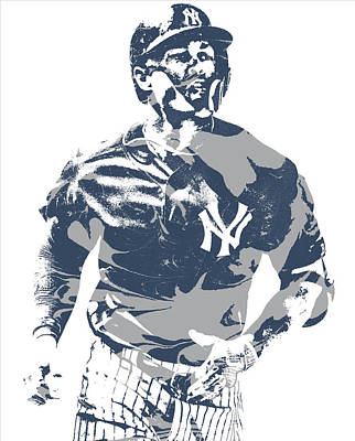 New York Yankees Mixed Media - Giancarlo Stanton New York Yankees Pixel Art 2 by Joe Hamilton