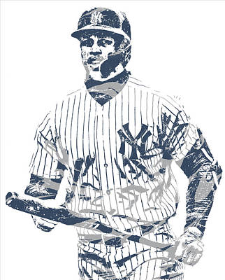 New York Yankees Mixed Media - Giancarlo Stanton New York Yankees Pixel Art 4 by Joe Hamilton
