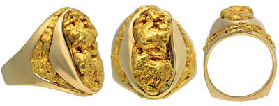 Gold Nugget Painting - Giant Alaskan Gold Nugget Mens Ring by Cleve Oines